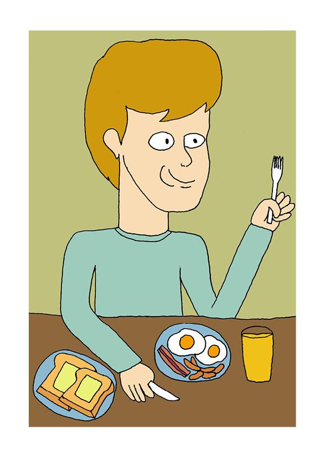 Carl  äter frukost