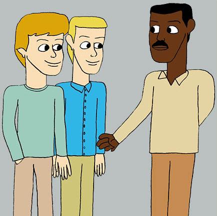 Carl och Simon träffar mörkhyad man
